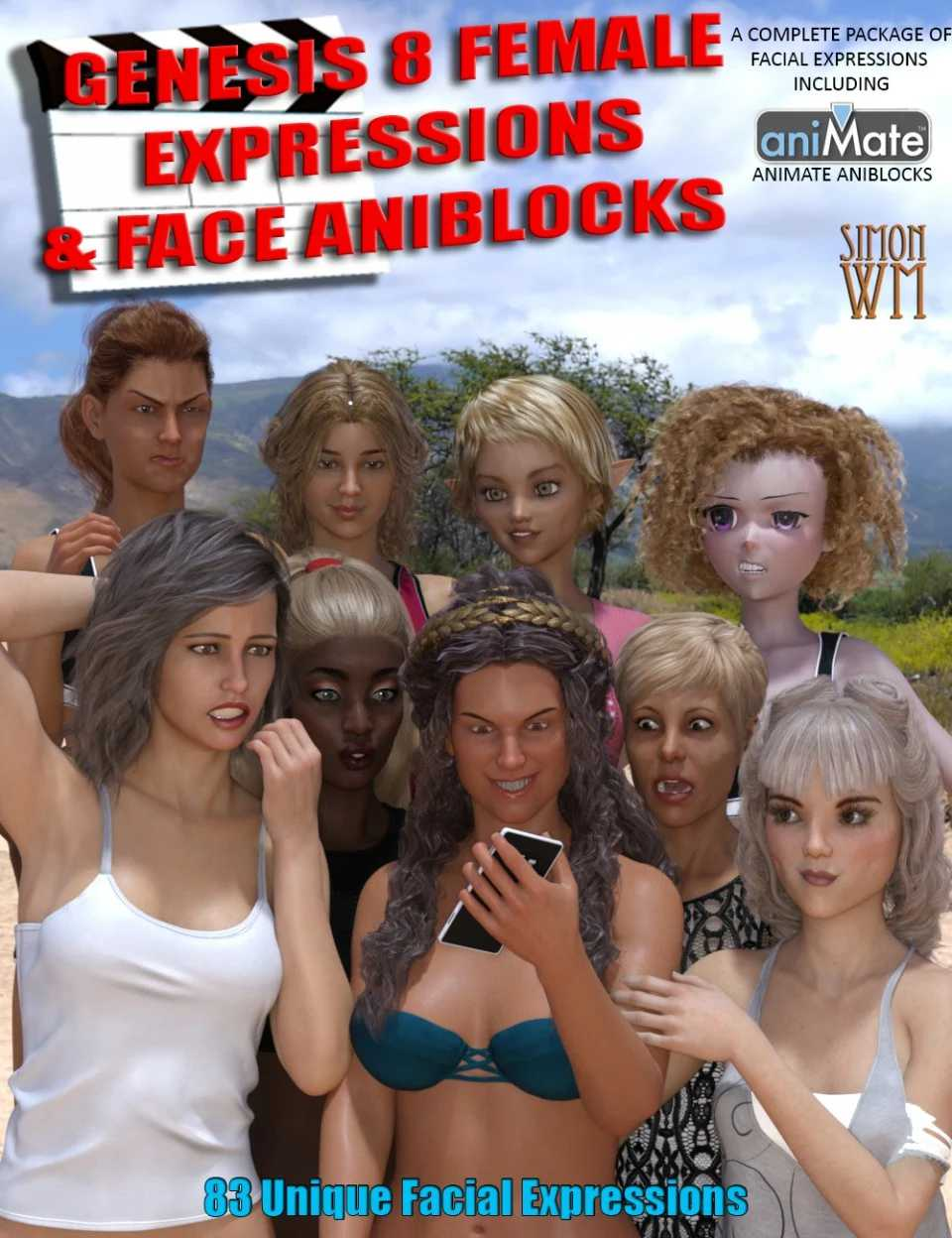 Genesis 8 Female(s) Expressions & Face aniBlocks
