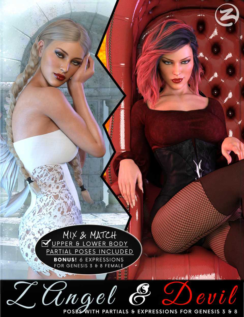 Z Angel & Devil – Poses, Partials and Expressions for Genesis 3 & 8 Female