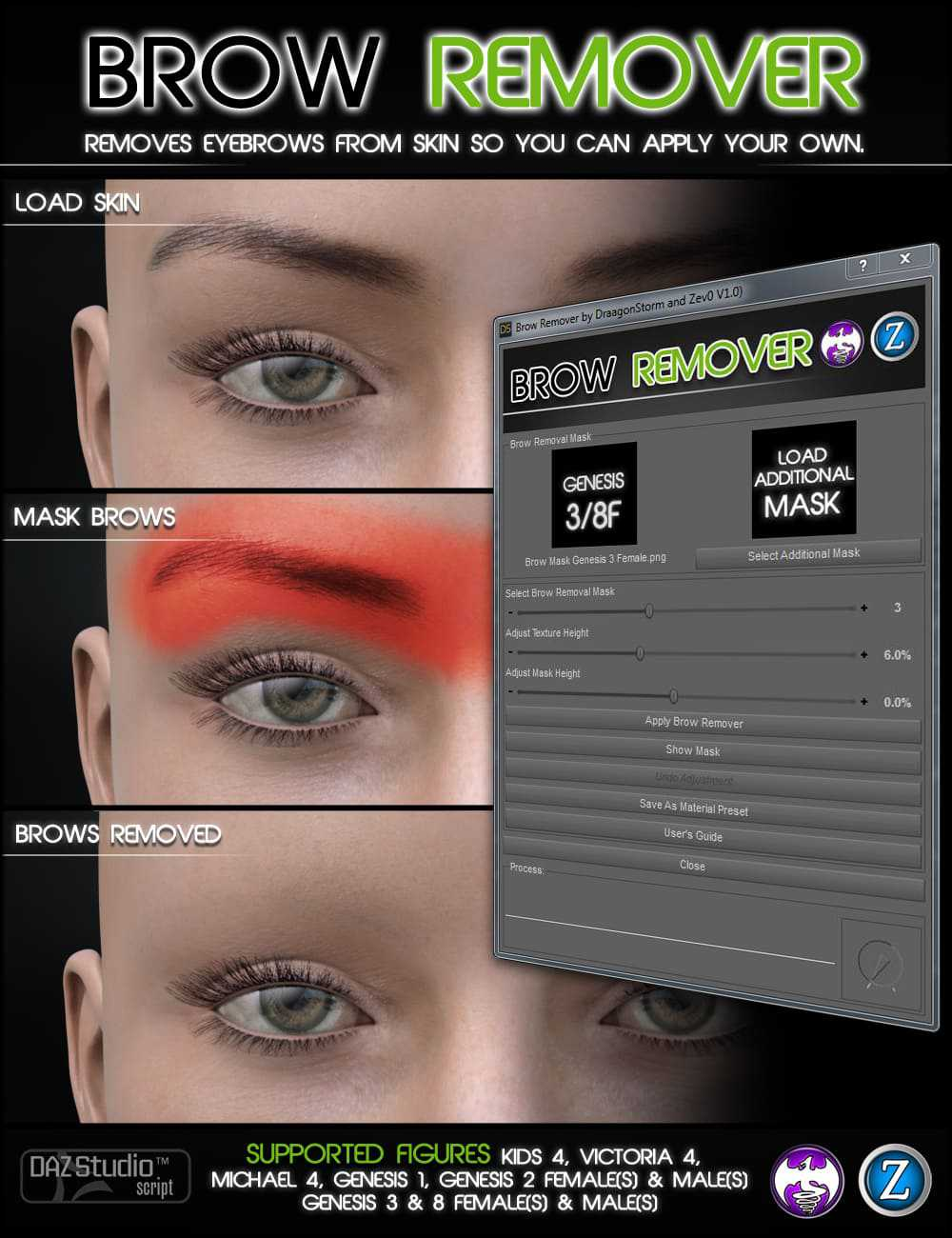 Brow Remover for Daz Studio (G8 update)