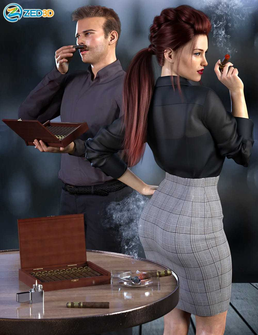 Z Smoke and Cigars Props and Poses for Genesis 8