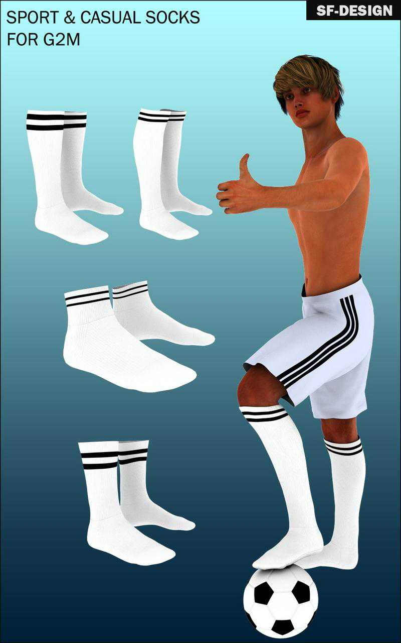 Sport and Casual Socks Pack for Genesis 2 Male