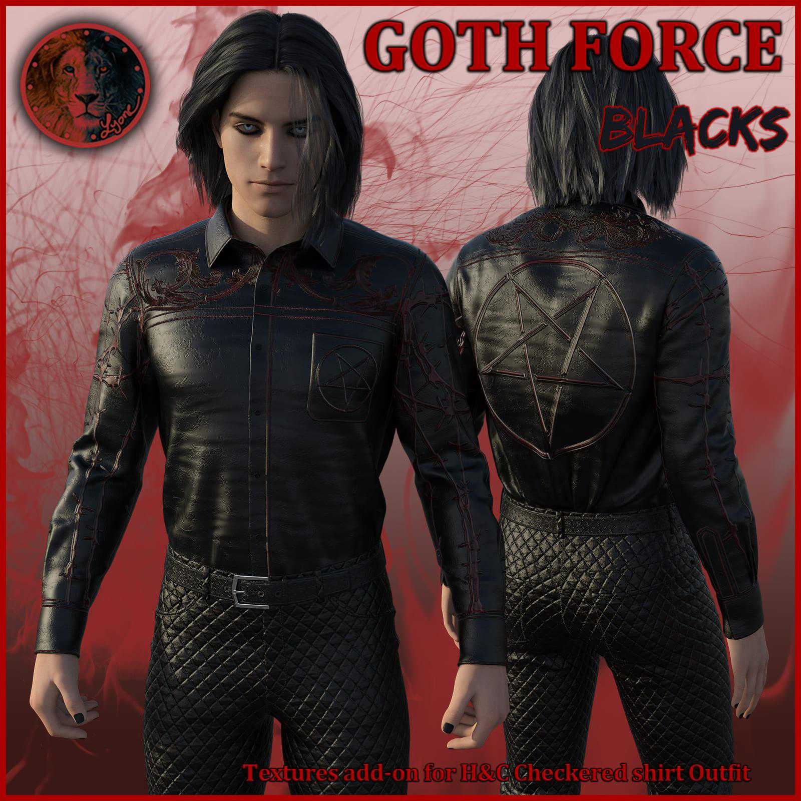 Goth Force blacks for H and C Checkered Shirt Outfit for G8M