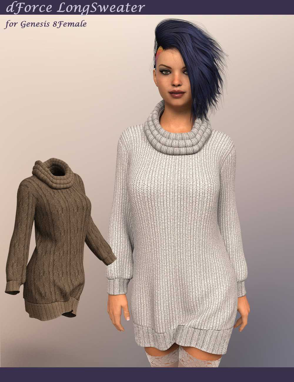 dForce LongSweater for Genesis 8 Female
