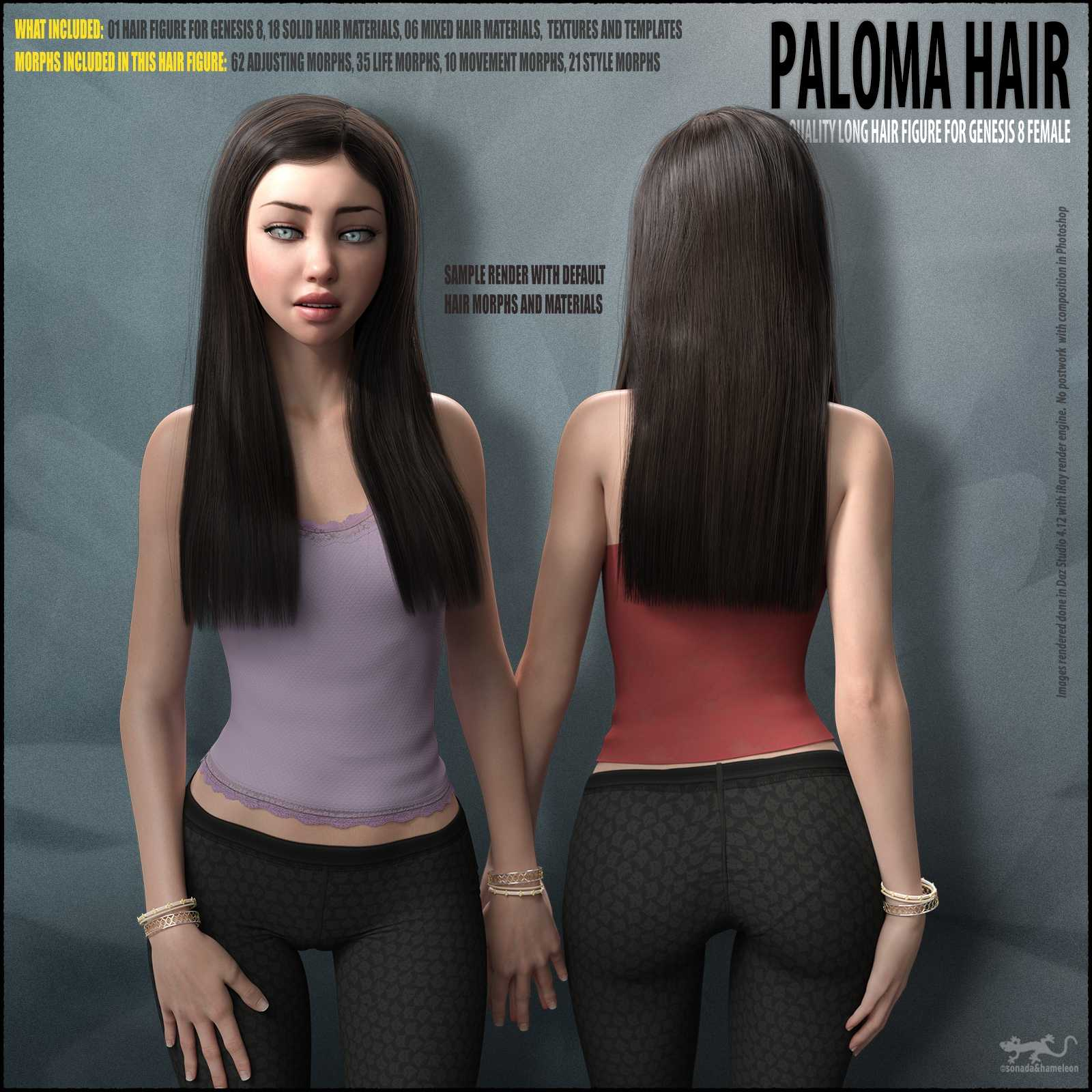 Paloma Hair for Genesis 8 Female