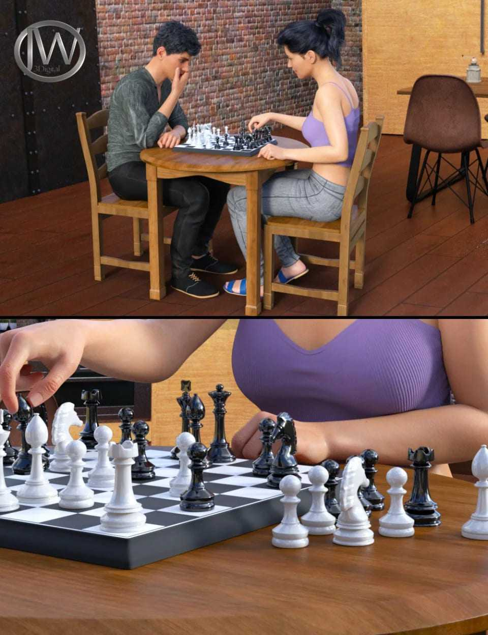 JW Chess Props and Poses for Genesis 8