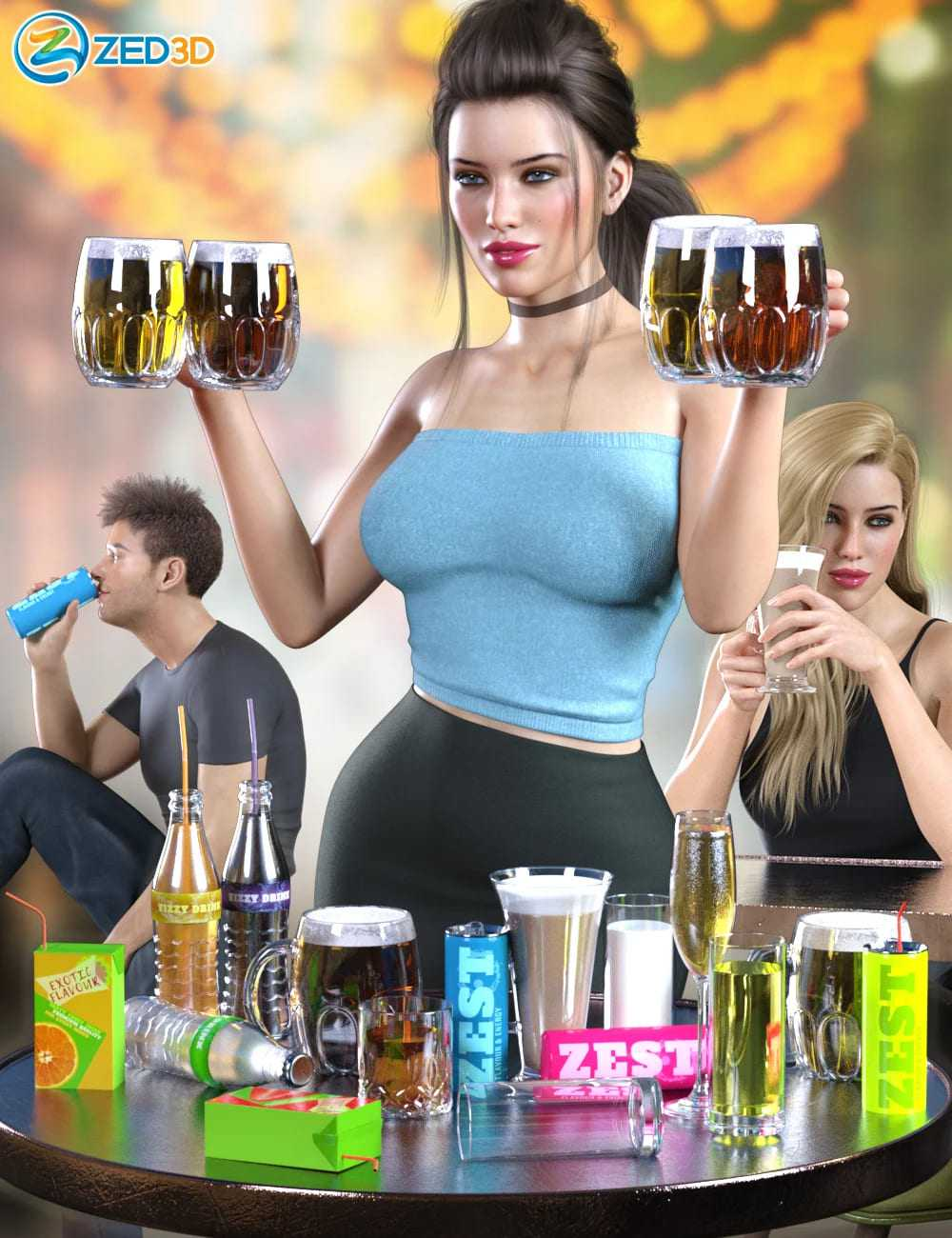 Z Drinks Aplenty Props and Poses for Genesis 8