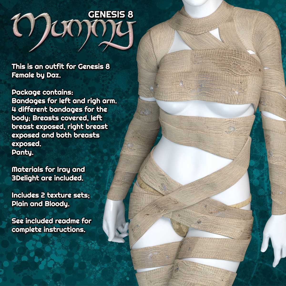 Exnem Mummy for Genesis 8 Female