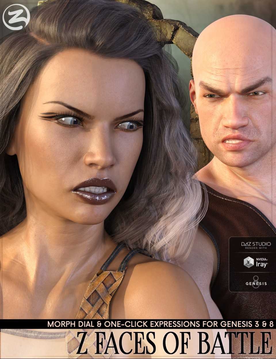 Z Faces Of Battle – Dialable and One-Click Expressions for Genesis 3 and 8
