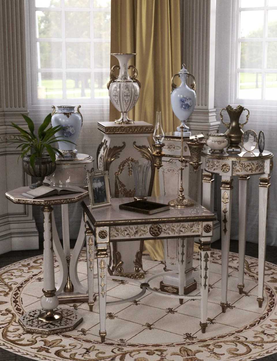 Choices for Vintage Stands and Tables Iray