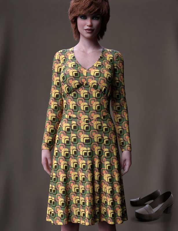 dForce 70's Work Dress for Genesis 8 Female(s)