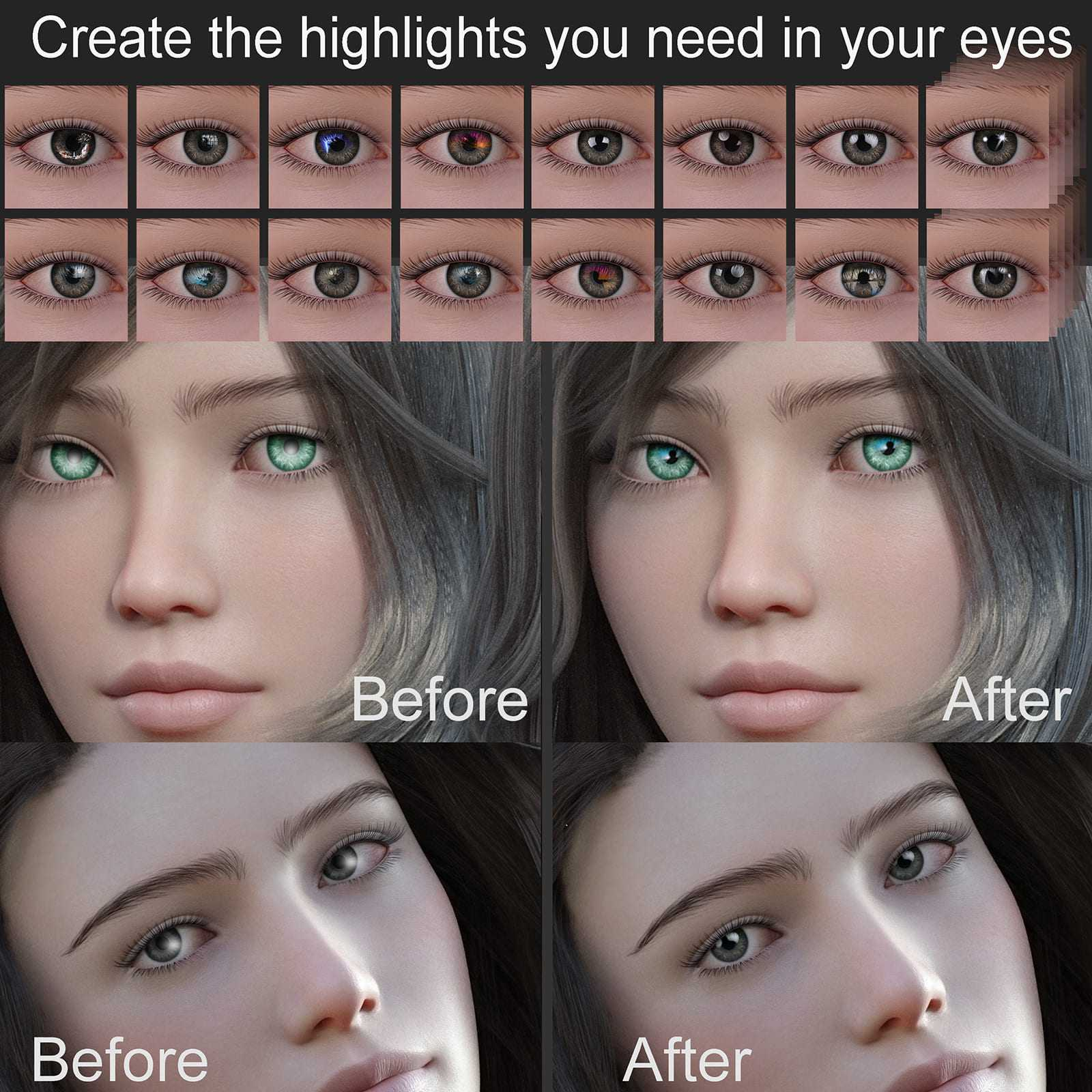 Set for Genesis 8 eye reflections