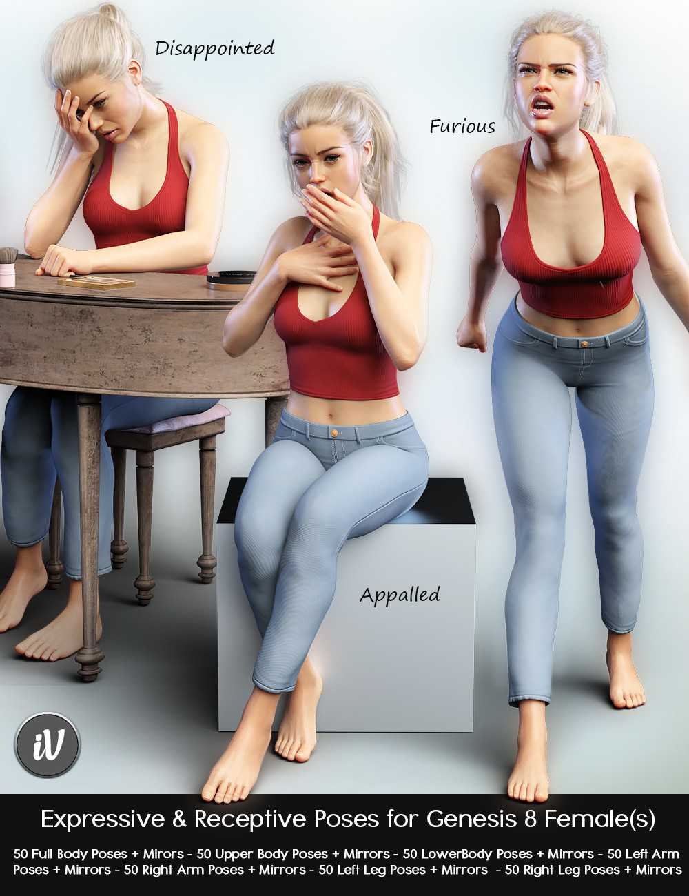 iV Expressive & Receptive Poses For Genesis 8 Female(s)