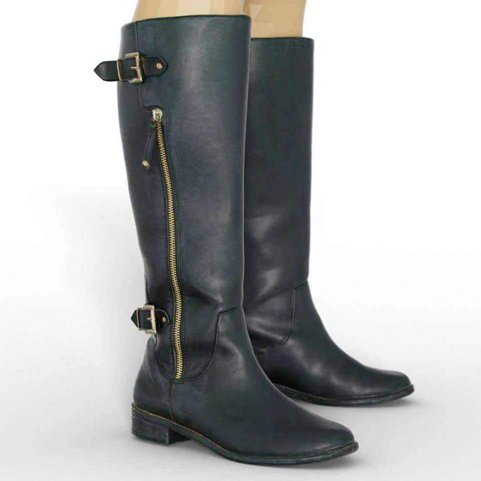 Black Leather Boots for Genesis 8 Female