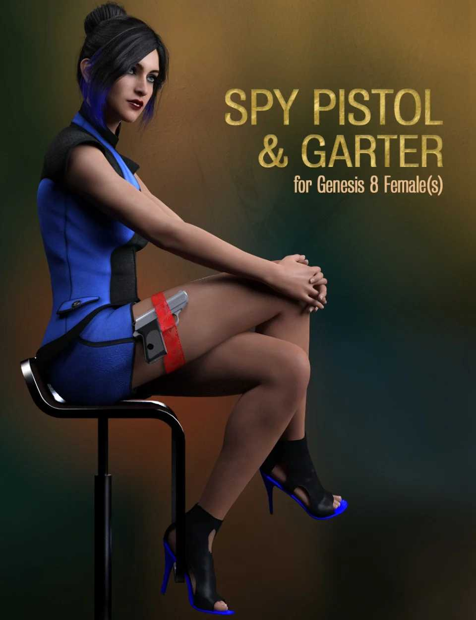 Spy Pistol and Garter for Genesis 8 Female