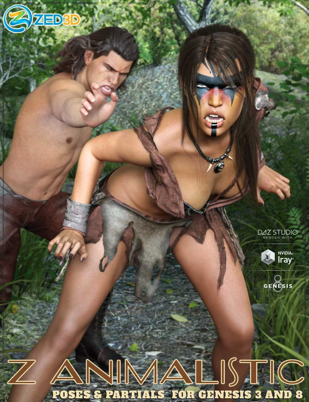 Z Animalistic Poses and Partials for Genesis 3 and 8
