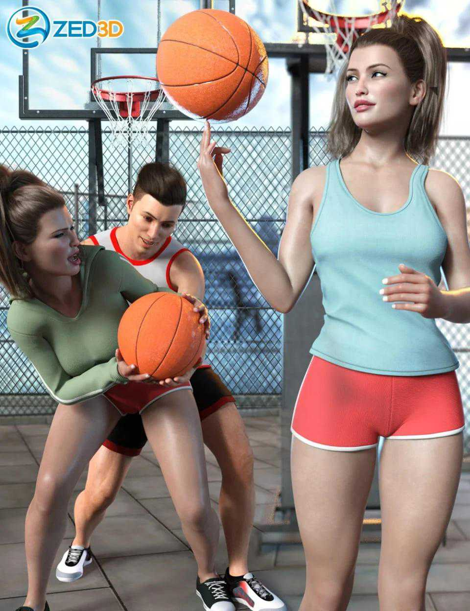 Z Shooting Hoops Scene and Poses for Genesis 8