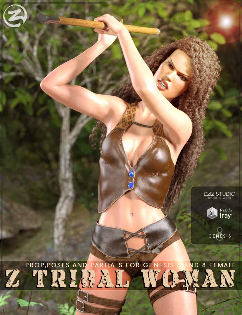 Z Tribal Woman – Prop, Poses and Partials for Genesis 3 and 8 Female